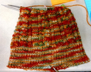 Cabled Hat on needles